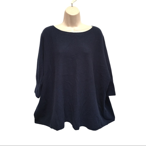 Garnet Hill Navy Blue 100% Cashmere Sweater Boxy L